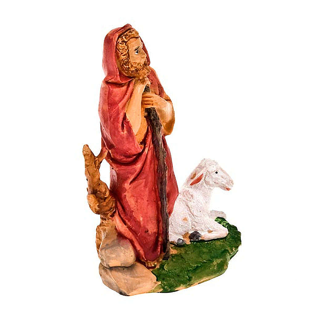 Nativity figurine, standing shepherd with stick and sheep 13cm 3