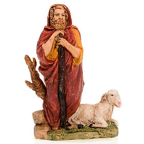 Nativity figurine, standing shepherd with stick and sheep 13cm s3