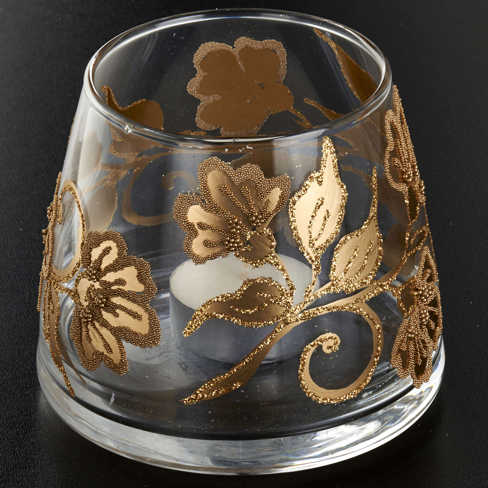 e3af52ac107 Vaso porta vela de vidrio pintado a mano 3