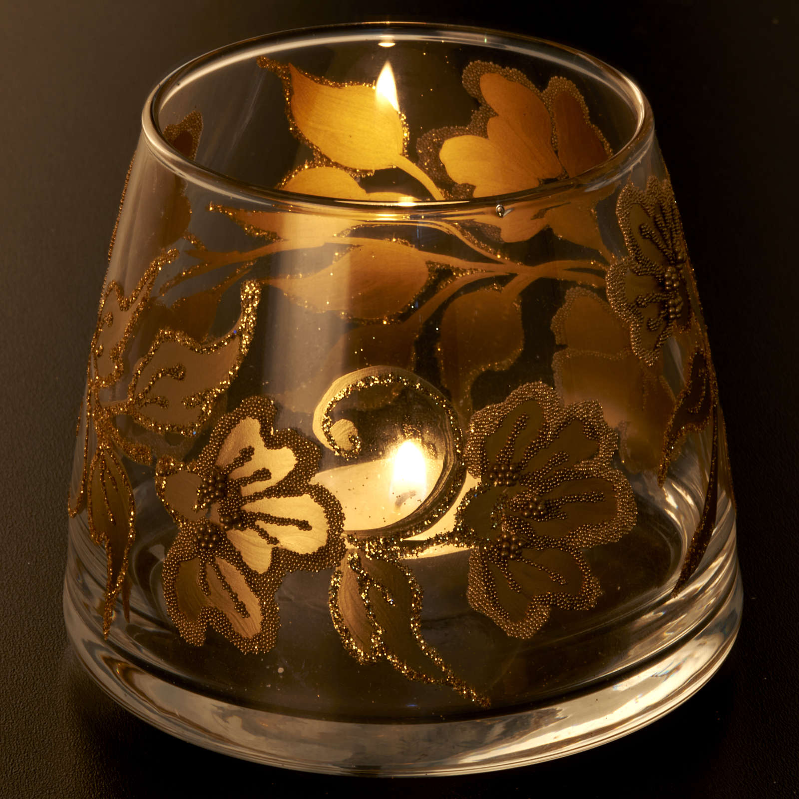 Portacandela natalizio bicchiere dipinto a mano 3