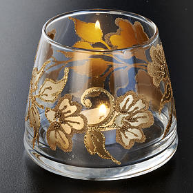 Portacandela natalizio bicchiere dipinto a mano s3