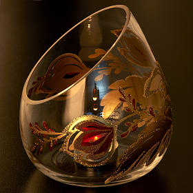 Vaso porta vela de Navidad en vidrio cortado s4