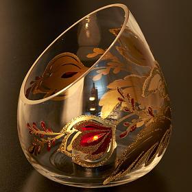 Vaso porta vela de Navidad en vidrio cortado s5
