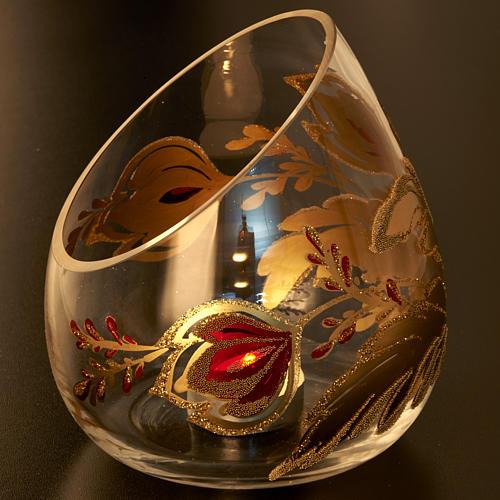 Vaso porta vela de Navidad en vidrio cortado 5