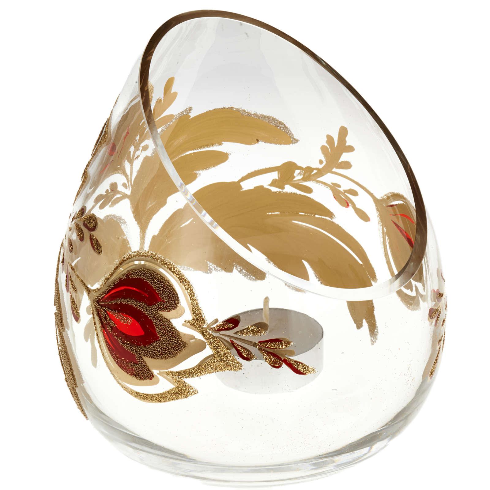 Portacandela natalizio bicchiere tagliato vetro 3