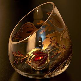 Portacandela natalizio bicchiere tagliato vetro s4