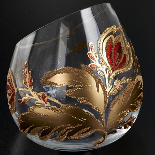 Portacandela natalizio bicchiere tagliato vetro 6