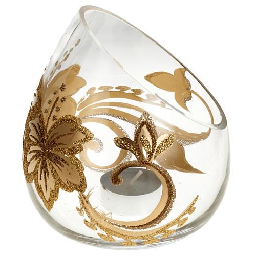 Porte bougie de Noel en verre décorations florales 1