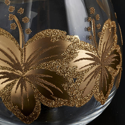Porte bougie de Noel en verre décorations florales 3