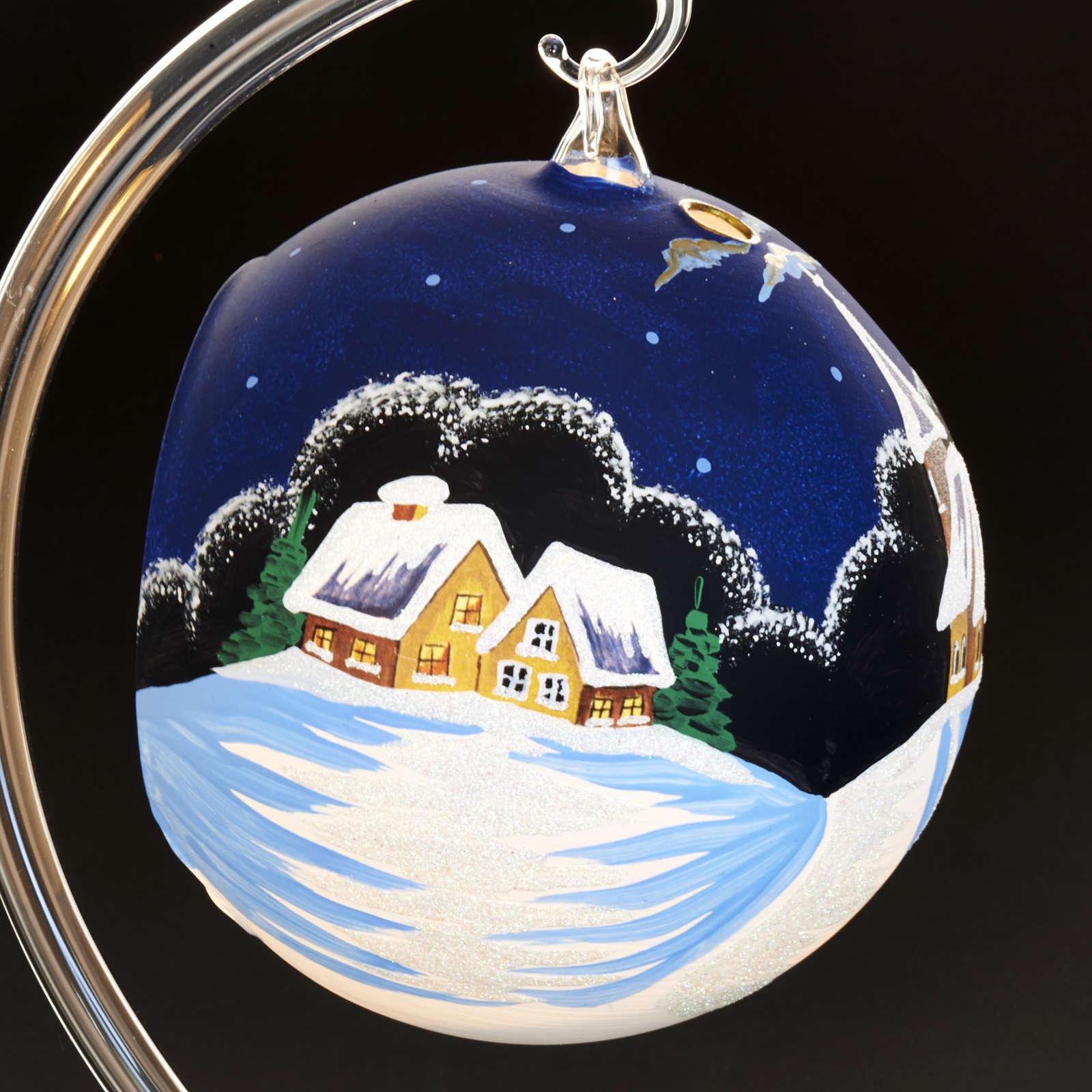 Vaso porta vela de Navidad pintado a mano pueblito con  nieve 3