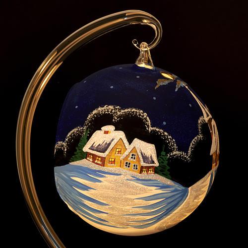 Vaso porta vela de Navidad pintado a mano pueblito con  nieve 6