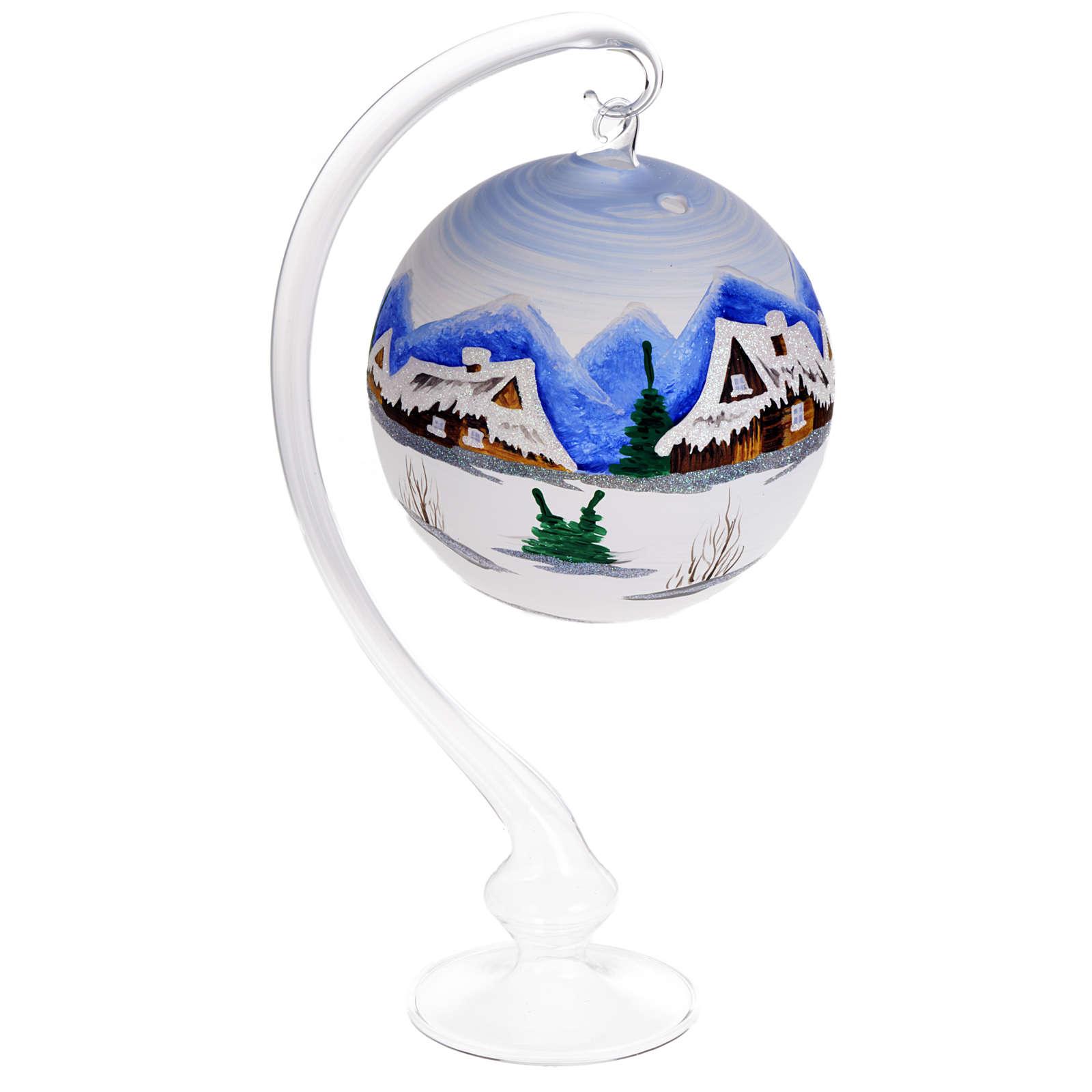 Portacandela Natale dipinto a mano vetro soffiato 3