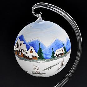 Portacandela Natale dipinto a mano vetro soffiato s4
