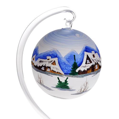 Portacandela Natale dipinto a mano vetro soffiato 2