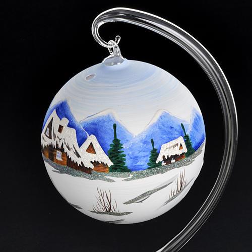 Portacandela Natale dipinto a mano vetro soffiato 4