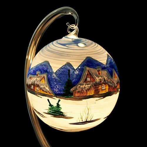 Portacandela Natale dipinto a mano vetro soffiato 5