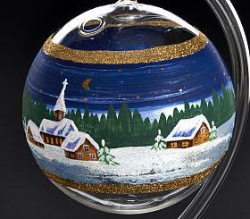 Porta vela de Navidad pintado en vidrio soplado s3