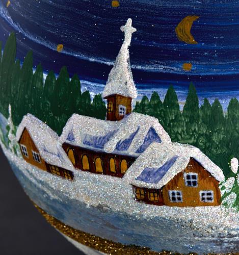 Porta vela de Navidad pintado en vidrio soplado 4