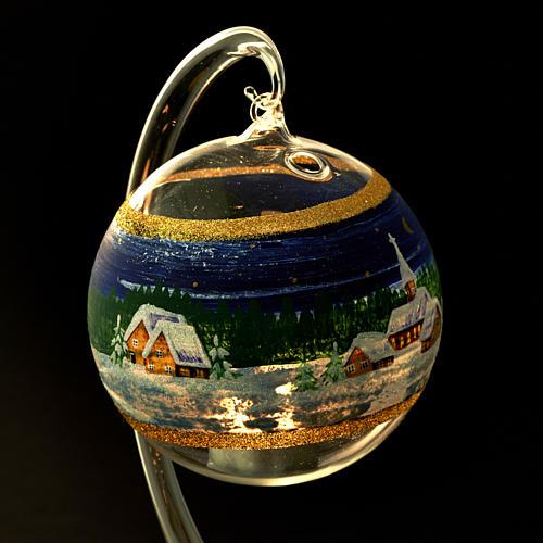 Porta vela de Navidad pintado en vidrio soplado 5