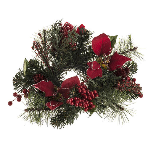 Christmas garland with star, berries and cypress 1