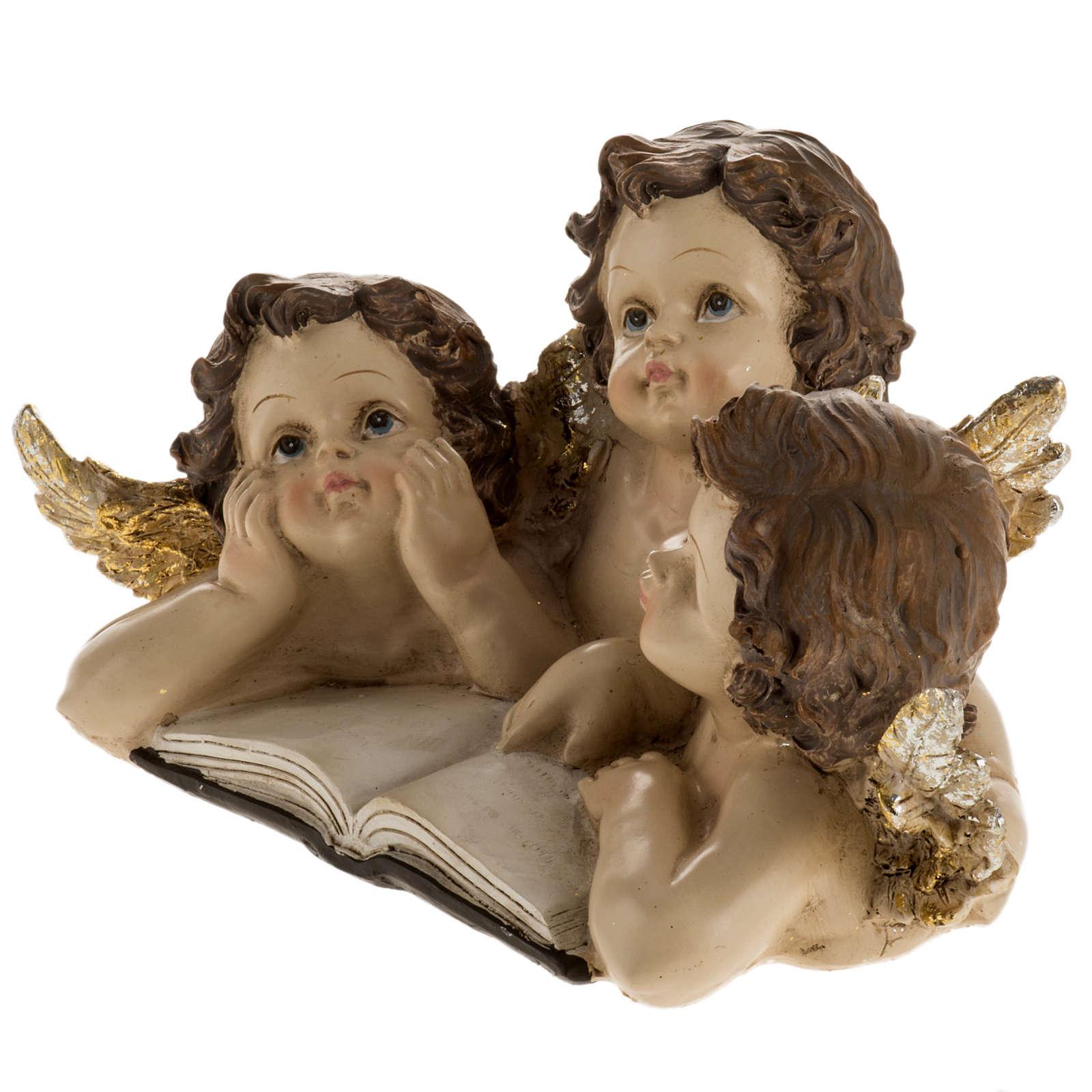 Tre angioletti con libro decoro natalizio 3