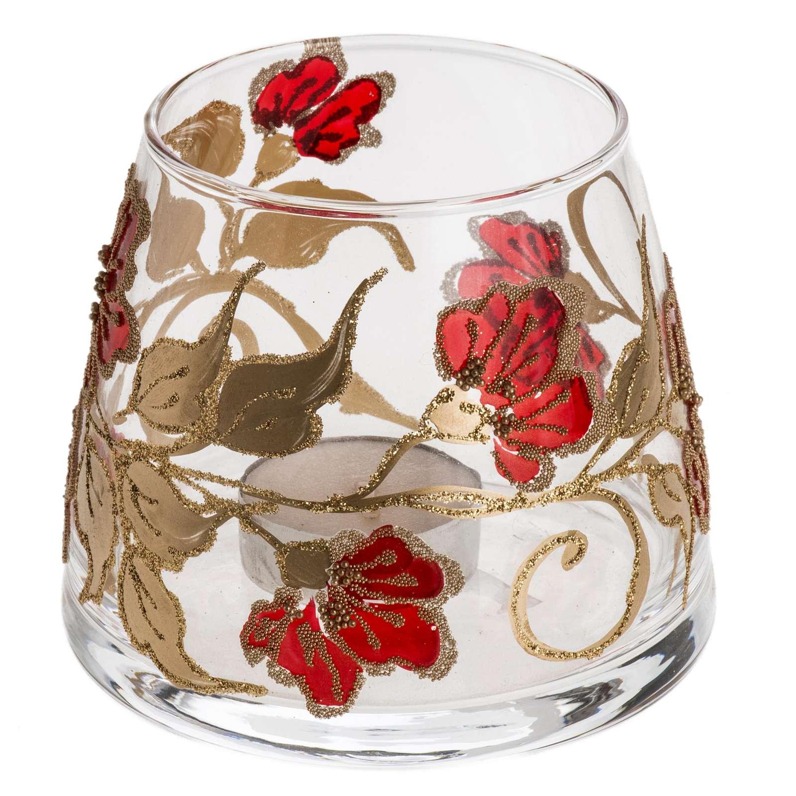 Bicchiere natalizio portacandela vetro rosso oro 3