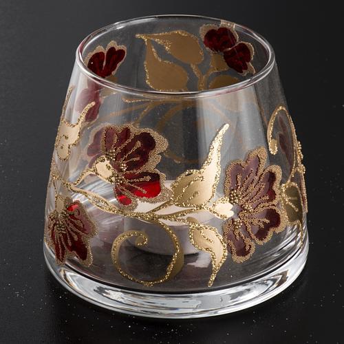 Bicchiere natalizio portacandela vetro rosso oro 2