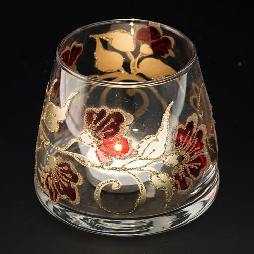 Bicchiere natalizio portacandela vetro rosso oro 4