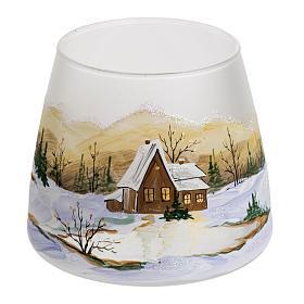 Bicchiere portacandela Natale paesaggio neve vetro s1
