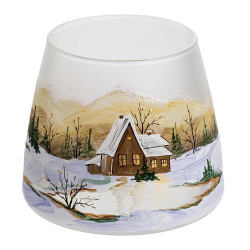 Bicchiere portacandela Natale paesaggio neve vetro 1