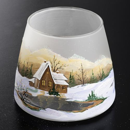 Bicchiere portacandela Natale paesaggio neve vetro 2