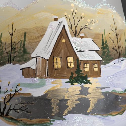 Bicchiere portacandela Natale paesaggio neve vetro 3