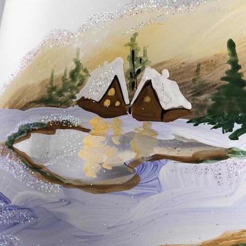 Bicchiere portacandela Natale paesaggio neve vetro 4