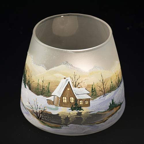 Bicchiere portacandela Natale paesaggio neve vetro 5