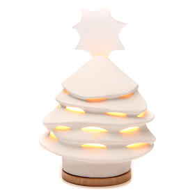 Enfeites de Natal para a Casa: Árvore de Natal Iluminada Cerâmica Centro Ave 38 cm argila branca