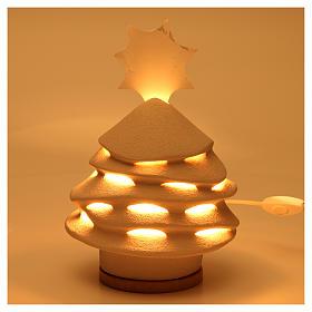 Árvore de Natal Iluminada Cerâmica Centro Ave 38 cm argila branca s2