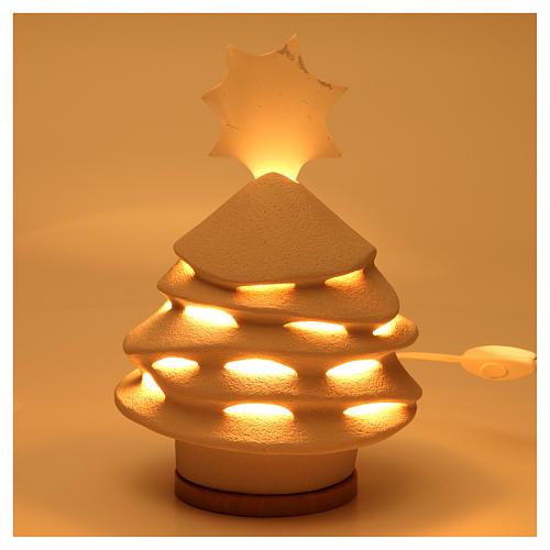 Árvore de Natal Iluminada Cerâmica Centro Ave 38 cm argila branca 2