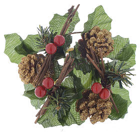 Christmas candle embellishment for spheric candle, pine cones and holly s1