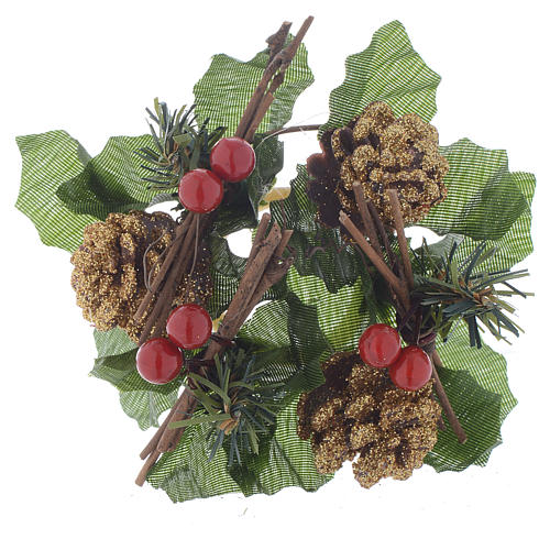 Christmas candle embellishment for spheric candle, pine cones and holly 1