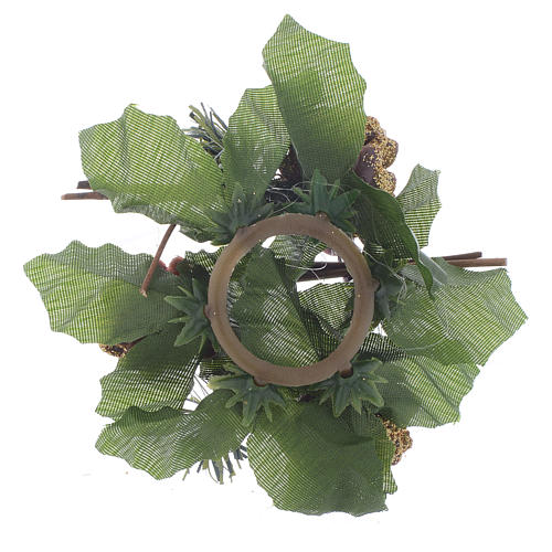 Christmas candle ring for spheric candle, pine cones and holly 2
