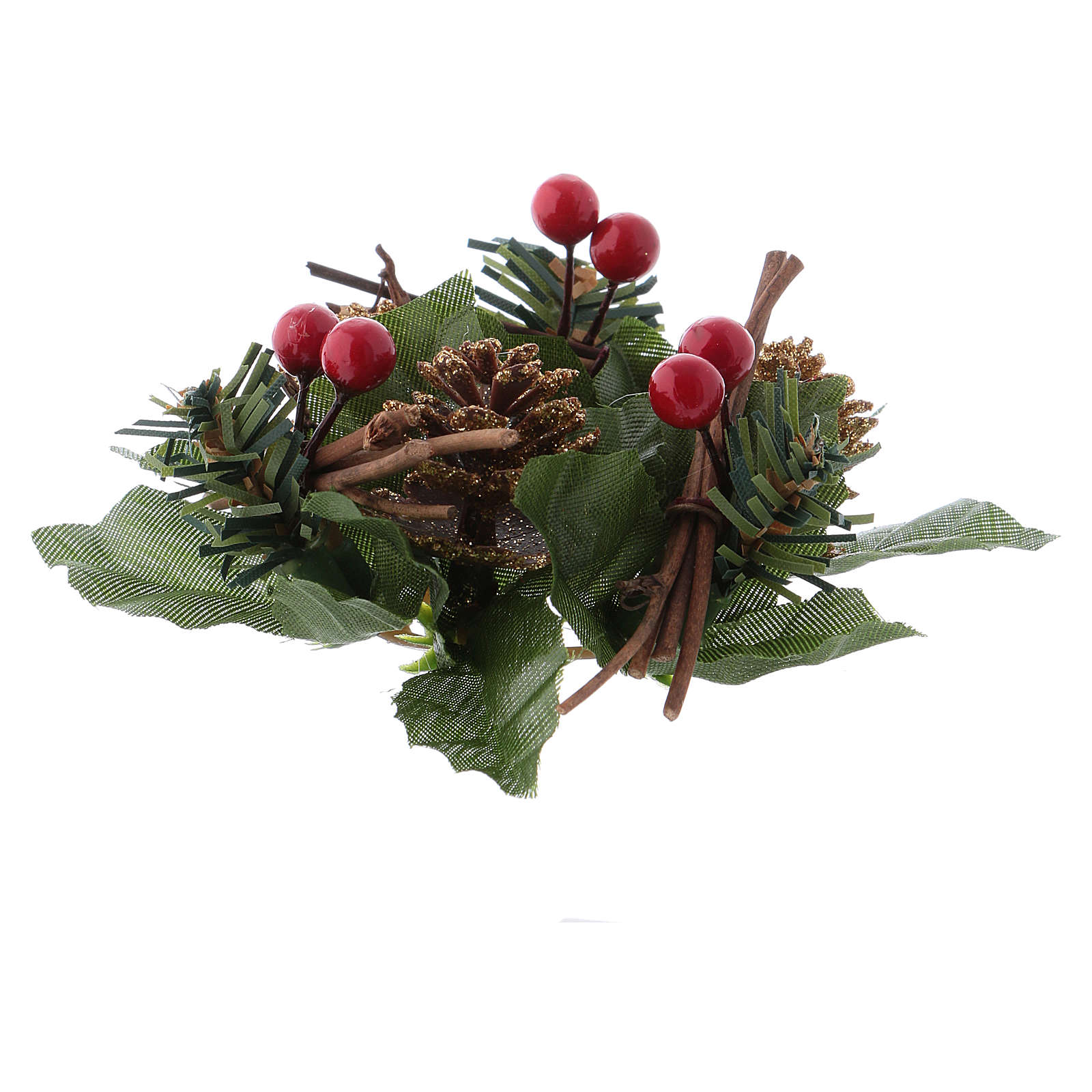 Christmas candle embellishment for spherical candle, pine cones and white stars 3