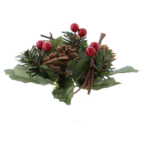 Christmas candle embellishment for spherical candle, pine cones and white stars 2