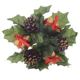 Girocandela natalizio (per candela sfera) pigne stelle bianche s1