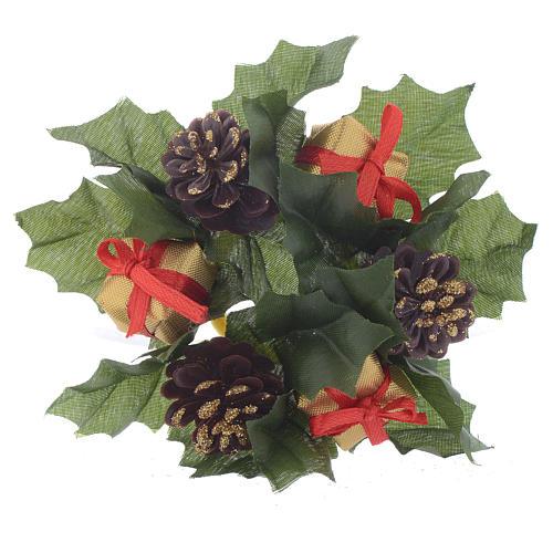 Girocandela natalizio (per candela sfera) pigne stelle bianche 1