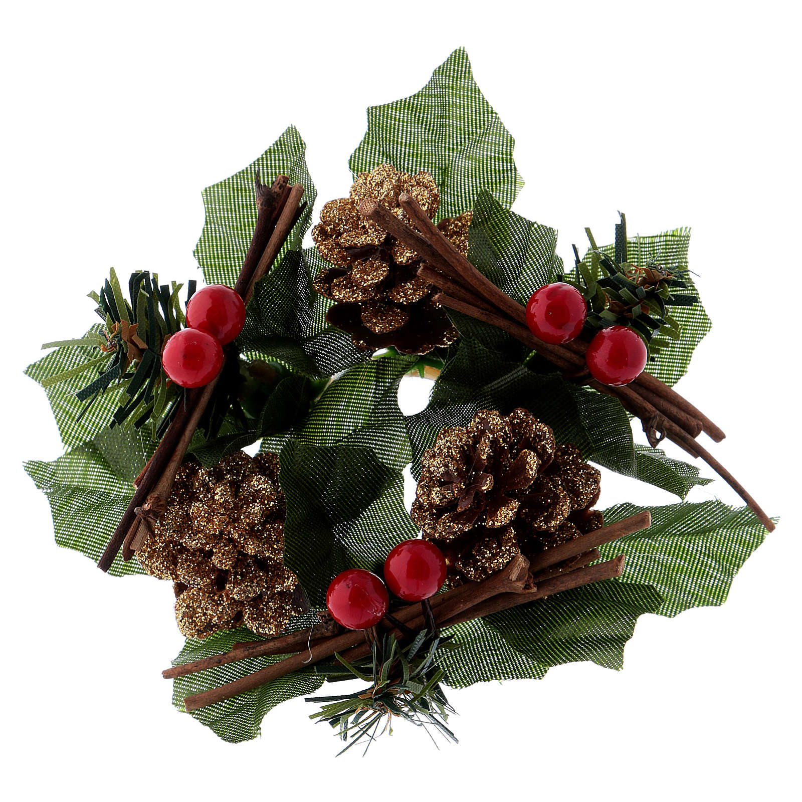 Coroa para vela Natal redonda cones estrelas brancas 3