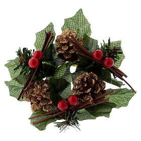 Coroa para vela Natal redonda cones estrelas brancas s1