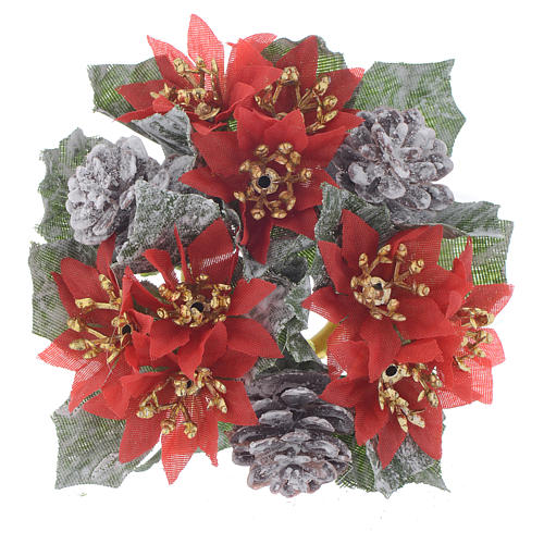 Girocandela natalizio (per candela sfera) pigne stelle rosse 1