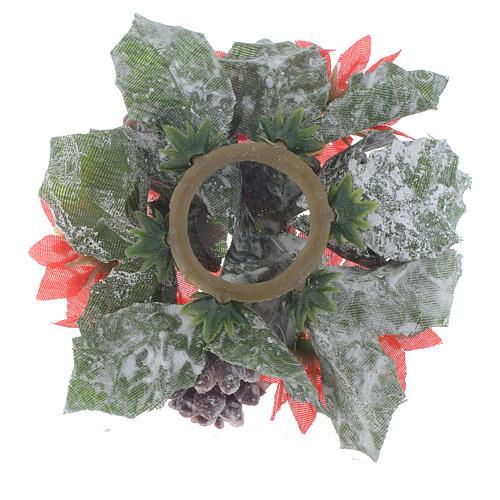 Girocandela natalizio (per candela sfera) pigne stelle rosse 2