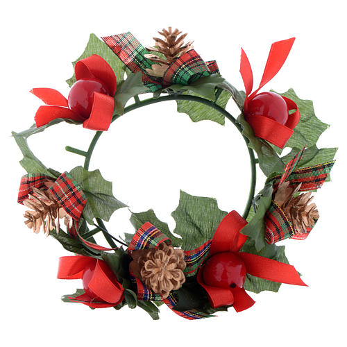 Girocandela di Natale (per candele classiche) pigne fiocchi 1