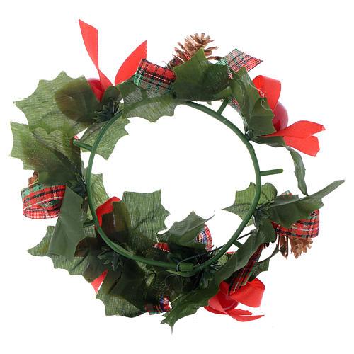 Girocandela di Natale (per candele classiche) pigne fiocchi 2